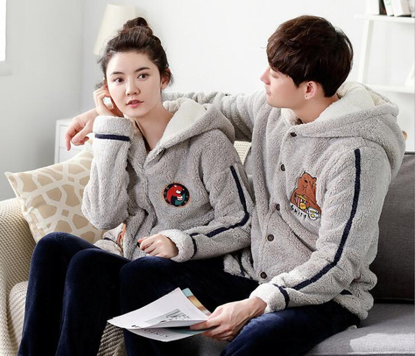 Winter new coral cashmere couples pajamas men and women plus velvet thick flannel can be outside the home clothing suit