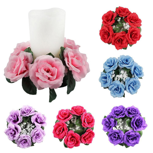 Wholesale-Large Floral Candle Rings Wedding Centerpieces Silk Roses Flowers Unity Candle Party Home Vase Decoration
