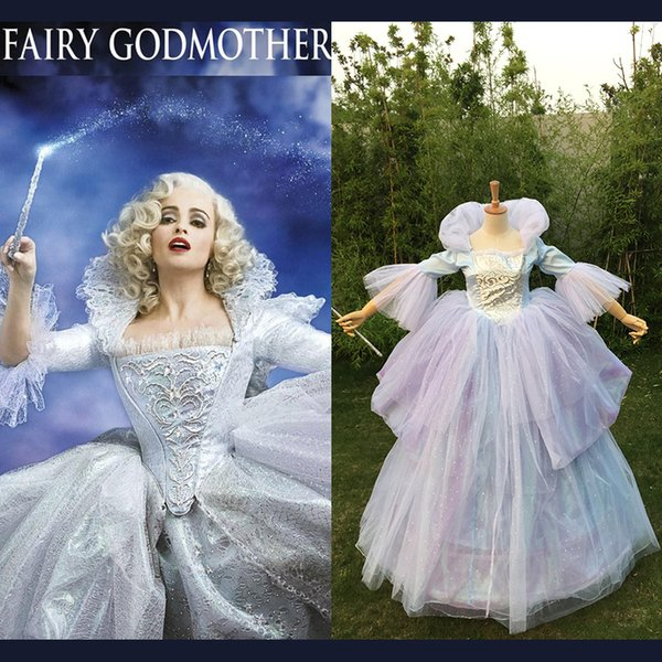 Costume fait sur commande en gros femmes adultes oneline fée marraine robe perruque cosplay long bleu fée cendrillon