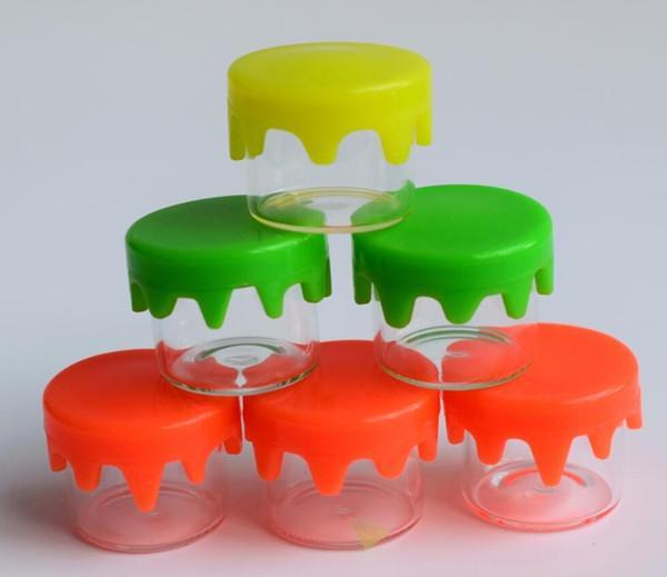 Vaso in vetro da 6ml con coperchio in silicone giallo rosso verde tappo con coperchio in gomma stampata logo e contenitore per stoccaggio olio dab
