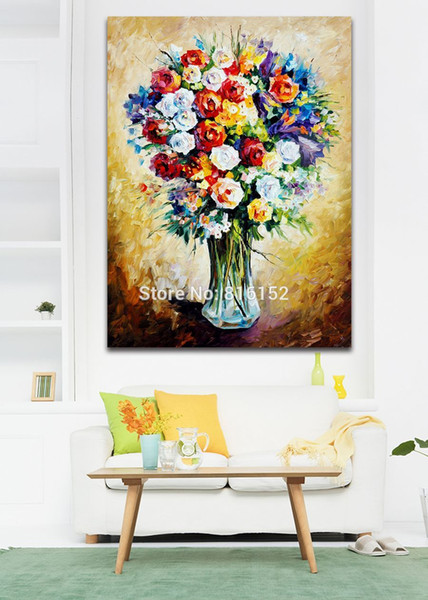 Colorful Rose Blooming Bouquet Modern Palette Knife Painting Wall Art Printed On Canvas Picture For Office Home Decor