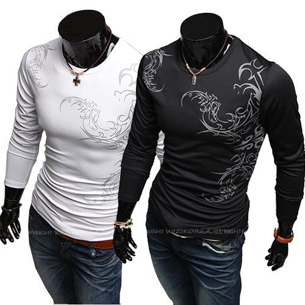 Männer T-Shirts Männer T-Shirts drucken chinesische Männer Casual Langarm-Strick-T-Shirt Casual Slim Fit Stylish T-Shirt