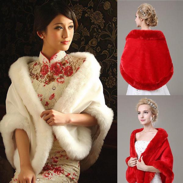 Frühlings-Winter-warme Brautverpackungen weißer weicher voller Faux-Pelz-Brautschal Heißer Shrug Bolero-Frauen-Verpackungs-Jacke für Abschlussball-Partei