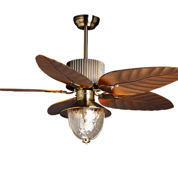 "top popular 51"" Ceiling Fan Light 5 Blades Study Room Bronze Ceiling Fan Glass lampshade Living Room Luxury Plasitic Fan Blade Bedroom Ceiling Fans 2021"