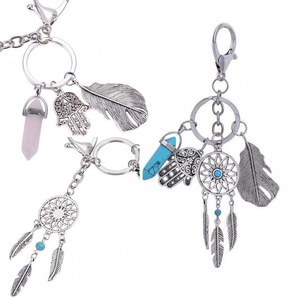 Bohemian 4 Color Dream Catcher Turquoise Leaf Tassel Keychain Bag Handbag Ring Car Key Palm Pendant Accessories D302S