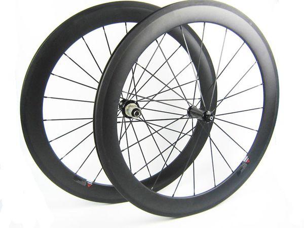 700C Vollcarbon Räder vorne 60mm hinten 60mm tief im Drahtreifen Rennrad Rad gerade ziehen R36 Keramiklager Nabe blau Malerei