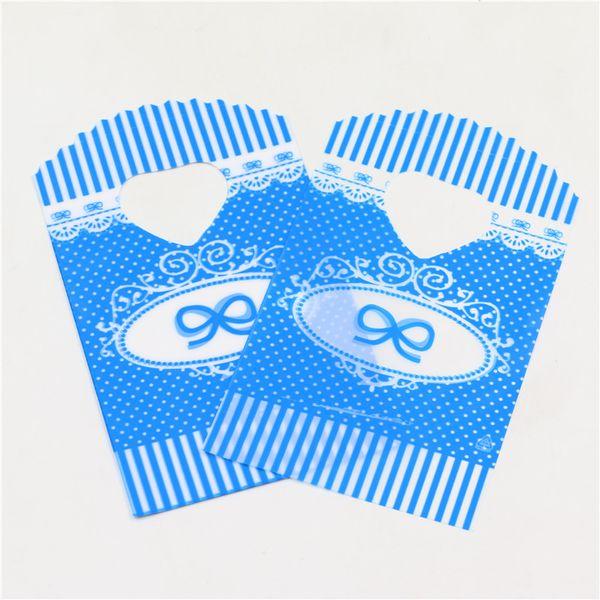 Gros-50 pcs / sac nouveau bleu belle mini sac en plastique avec amour poignée shopping bijoux packagaing petits sacs mignons 8,5 * 14 cm