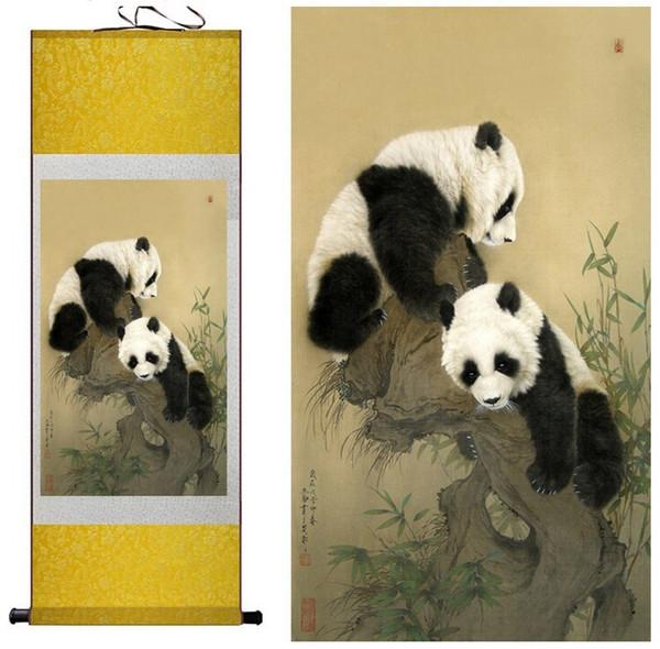 1 Peça HD Impresso Panda Animal Parede Pictures Rolagem Chinesa Silk Wall Art Poster Imagem Pintura Decoração de Casa Decoração de Parede