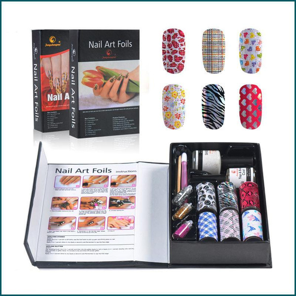 2015 envío gratis 6 rollos Nail Art Foils Set Symphony hoja de transferencia de uñas Sticker Foil + Glitter + Adhesive 2 sets / lot