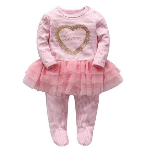 Baby Romper Infant Wrap Foot Rompers Baby Girl LoveTutu Dress Romper Spring Pink Color Jumpsuit 6 p/l