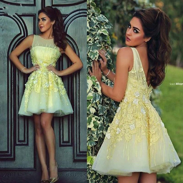 Light Yellow Short Lace Homecoming Party Dresses Bateau Sheer Neck Cap Sleeves V Backless Junior Prom Cocktail Party Dress BO8374