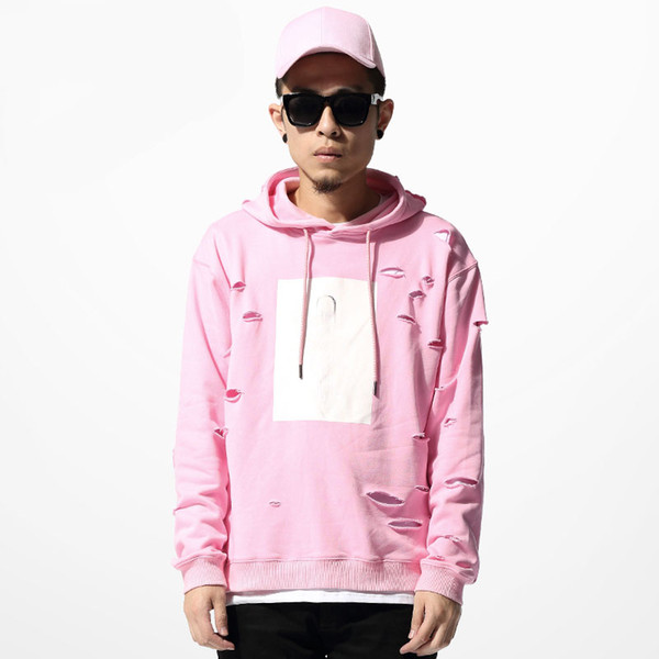 Wholesale-2015 hot mens hip hop pink hoodies sweat suit tracksuit men with the hole hoodies men jogging running set winter male streetwear