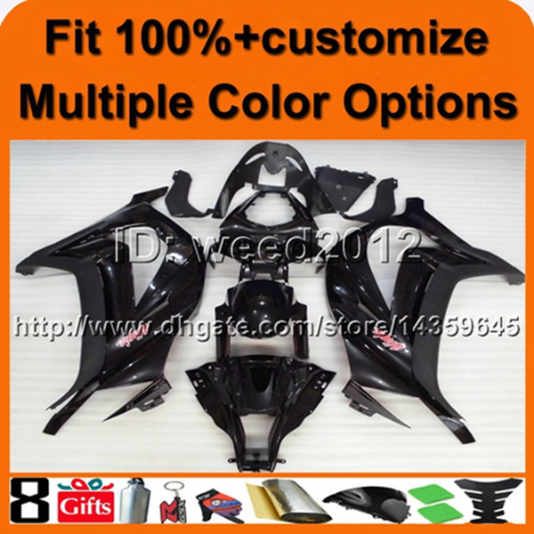 23colors+8Gifts Injection mold BLACK with decals cowling kit ZX10R 2011 2012 panels ABS motorcycle fairing for Kawasaki Ninja
