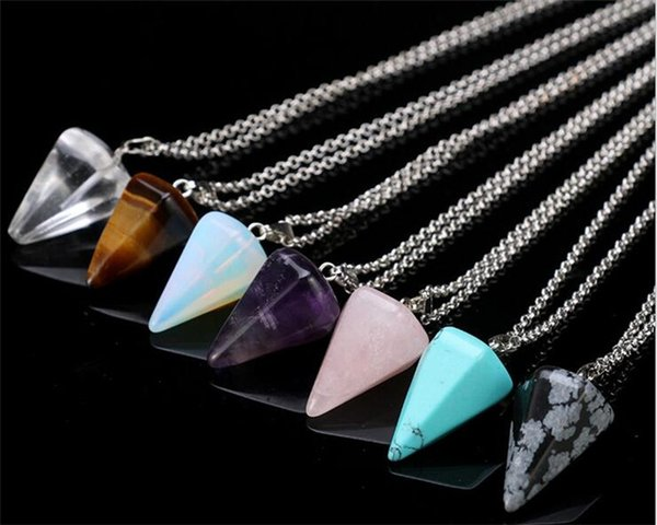 best selling Natural Gemstone Pendant Necklace Crystal Healing Chakra Reiki Silver Stone Hexagonal Prisme Cone Pendulum Charm Necklaces R071
