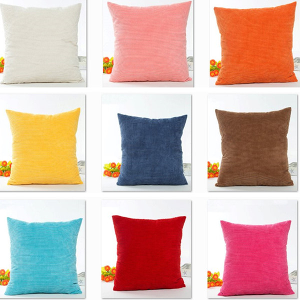 12 Colors Striped Plush Velvet Pillow Case Solid Soft Corduroy Home Sofa Car Cushion Cover Christmas Decoration 45*45cm HH7-274