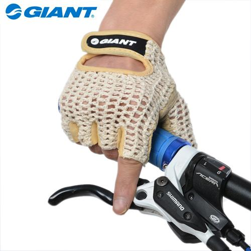 GIANT Summer Breathable Reinforced Crochet Sprots Padded Leather Palm Cycling Luvas Bike Bicycle Cycle Short Half Finger Gloves