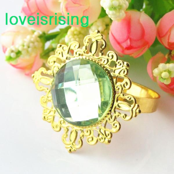 Prix le plus bas - 100pcs plaqué or vert clair Vintage Style serviette anneaux de mariage titulaire de serviette de douche de mariée - Livraison gratuite