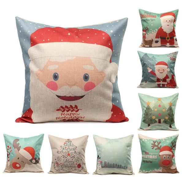 wholesale-wholesale christmas series pillow case cover linen cotton square cartoon santa claus snowman elk tree pattern xmas pliiowcase