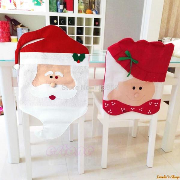 1 pair Noel Baba Noel Yemek Odası Sandalye Kapak Noel Yemeği ve Parti için En Iyi Yılbaşı Süslemeleri Ucuz Toptan