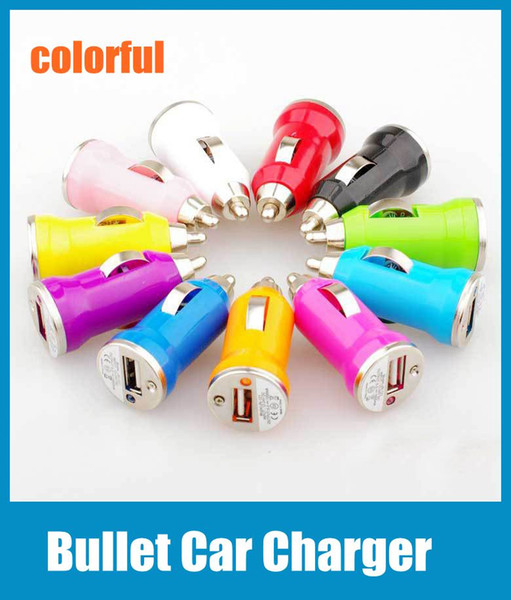Mini Chargers Bullet USB Car Charger Universal Adapter for iphone 5 4 4S 6 Cell Phone PDA MP3 MP4 player mobile i9500 s3 m7 Colorful CAB017