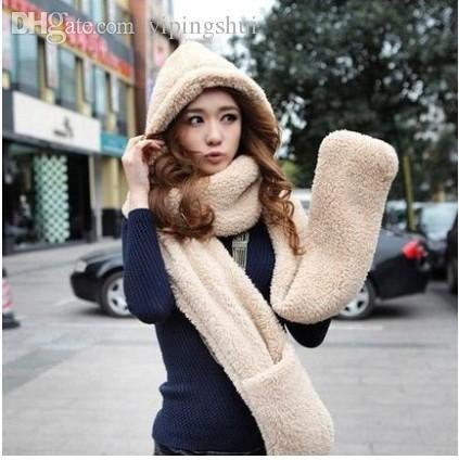 Wholesale-Autumn and winter lady Korean lovely Double thick wool scarf hat gloves one suit