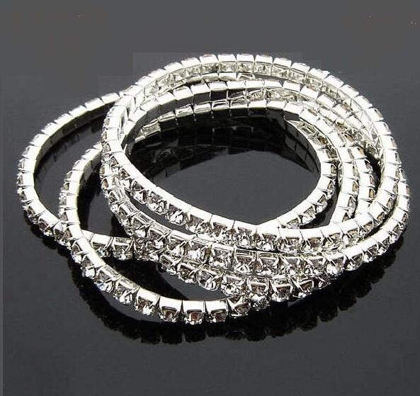top popular Stretchy One Rows Bling Crystal Rhinestone Bracelets fashion bracelet chains Wedding Bride Crystal Rhinestone Bangle Jewelry Accessories 2021