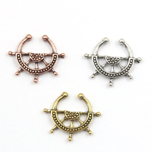 10pcs 3 color captain wheel rudder clip on fake nose hoop ring alloy gold and silver nose ring piercing septum falso for women N0043