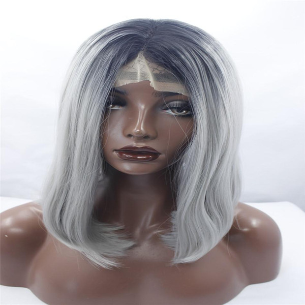 lace front wigs Sallyhair High Temperature Synthetic Straight Short Ombre Black Silver Grey Color American African Bob Wigs Hair Black Women