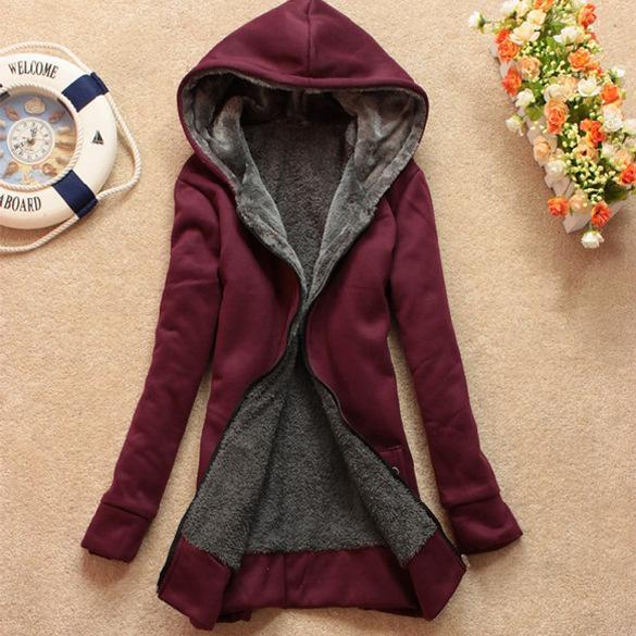 Manteau d'hiver femme manteau de fourrure chaude décontractée pull à capuche long sweat polaire veste cardigans vêtements pour femmes