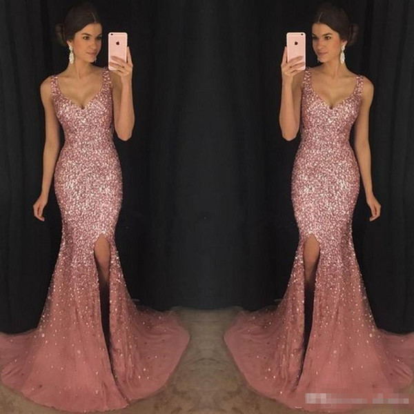 2018 Luxury Gorgeous Sparkly V-Neck Mermaid Prom Pageant Dresses Crystal Beaded Prom Dress Major Beading Split Sweep Train Evening Dress