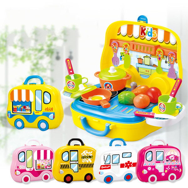 best selling Wholesale- Mini Children Cooking Pretend Play Suitcase Cooking Utensils Kitchen Toys Cosmetic Set Tool Toys For Boys Girl Gift BM042