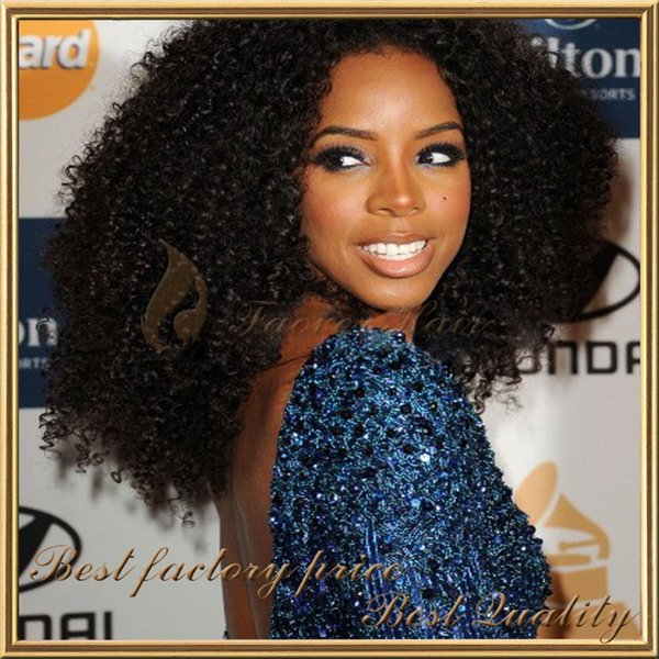 Hot Sell kinky curly 1#,1b,2#,4#,Natural Color 100% Mongolian Virgin Hair 130% density Full Lace wig with baby hair