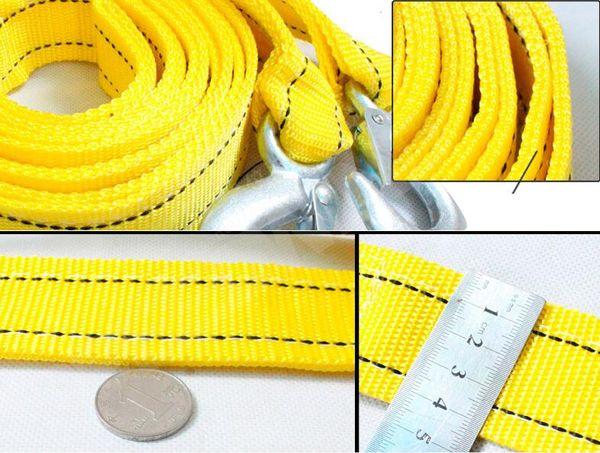 5 Ton / 5 meter Cable de Remolque para Coche Cable de Remolque Cuerda de Correa con Ganchos de Emergencia para Trabajo Pesado La Nueva Cuerda de Remolque de Buena Calidad