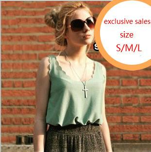 New Summer Euro-American Women Transparent Tank Tops Fashion Sleeveless Loose Wavy Edge Chiffon Vest Camisoles Bottoming Shirts