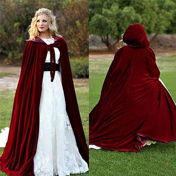 Custom made New 2019 economici con cappuccio da sposa Cape bordeaux velluto di Natale maniche lunghe da sposa mantelli da sposa avvolge da sposa giacca cappotto