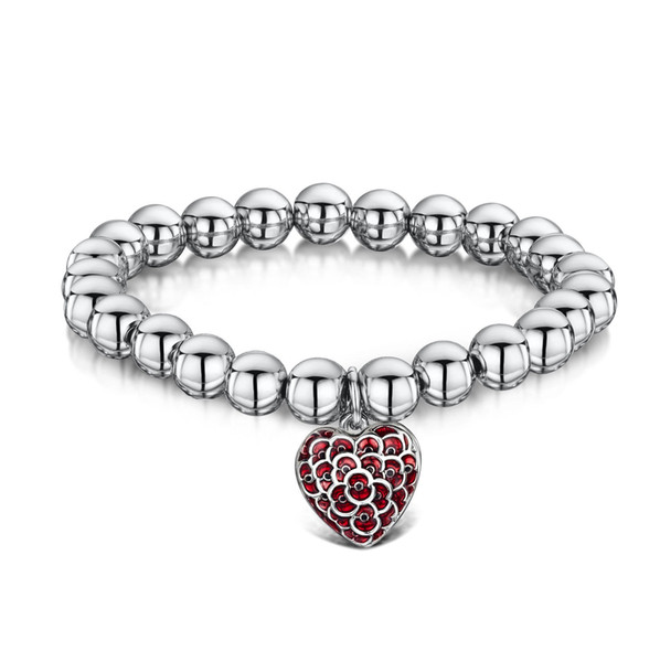 White Gold Tone Ruby Red Enamel Heart Poppy Charm Elastic Bracelet Rememberance Day Gifts Jewelry Souvenir