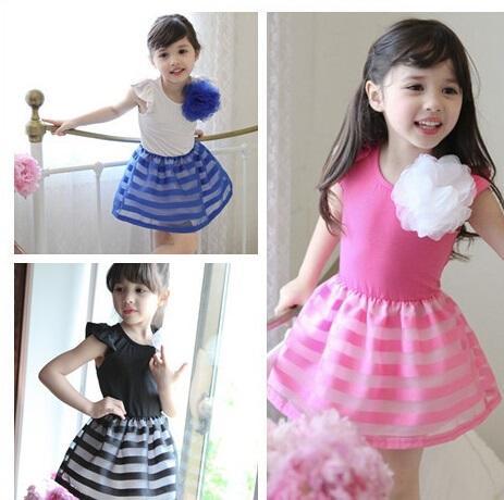 flower girl organza dress girls fly sleeve dress kids Summer vest dress 3d flower girl dress free shipping in stock