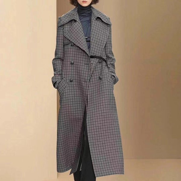Cappotto lungo di lana spessa delle donne del cappotto di lana lungo del cappotto delle donne del cappotto di lana di lana di plaid lungo di doppio petto all'ingrosso libero di trasporto