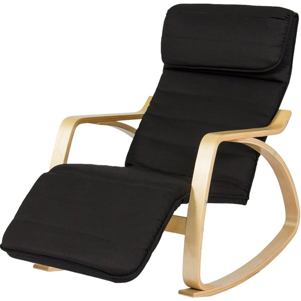 Wood Recliner Rocking Chair W/ Adjustable Foot Rest Comfy Relax Lounge Seat