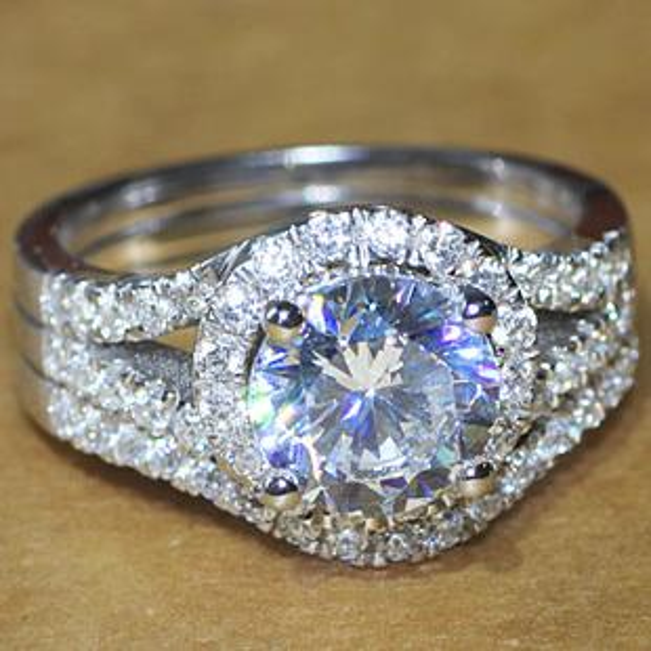 Luxury quality CPP Brand 2 NSCD man made diamond wedding ring set for women,bridal set, engagement ring set,free shipping