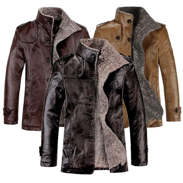 Wholesale- Hi-Q Spring Fashion Men's Motorcycle Leather Jackets Men 2017 Winter Casual Warm Coats Thick Wool Male Bomber Jacket 4XL,UMA334