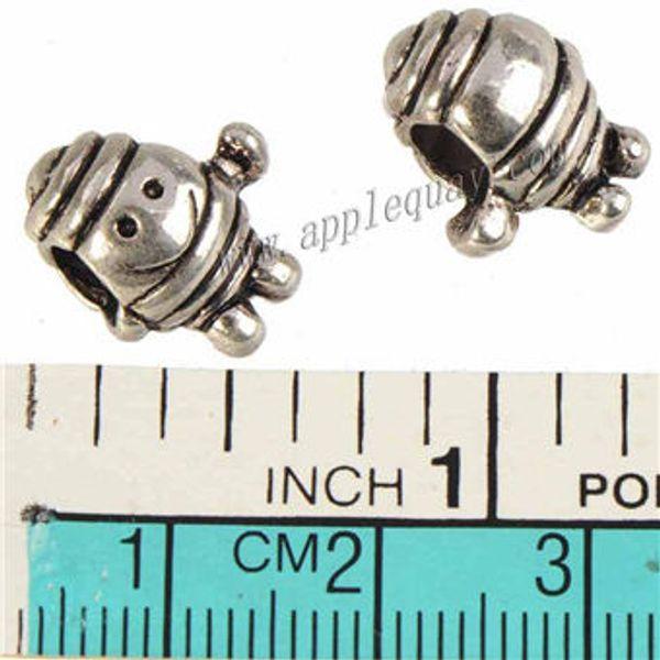 Jewelry Findings Charms Beads Pandora Bangles European Bracelets DIY 3D Robot Doll Smile Large Hole Loose Vintage Silver Metal 14mm 100pcs