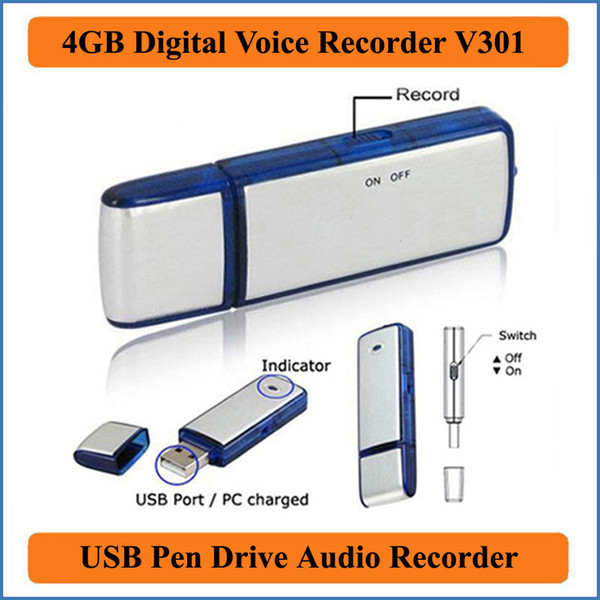 best selling 2 in 1 Mini 4GB USB 2.0 Digital Voice Recorder Dictaphone Rechargeable Recording Pen Drive Sound Audio Recorder 150 Hours WAV PQ141