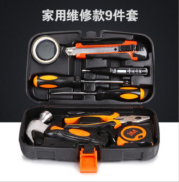 DHL Hardware toolbox 9 sets of manual tools kit for electric carpenter maintenance Hammer Screwdriver 3M Tape Test electricity pencil