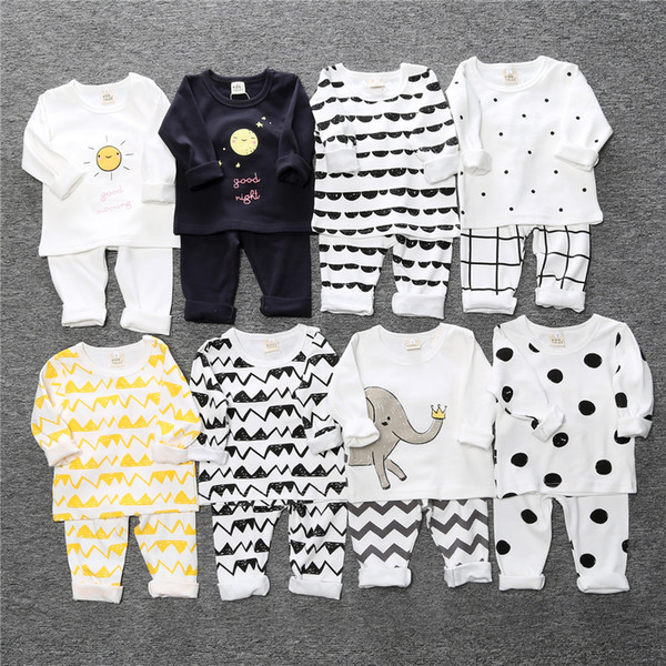 INS Unisex Toddler Pajamas Sets Cute Elephant Printed Cotton T Shirts and Full Length 2 Piece Sets Autumn Winter Baby Clothes 7110805