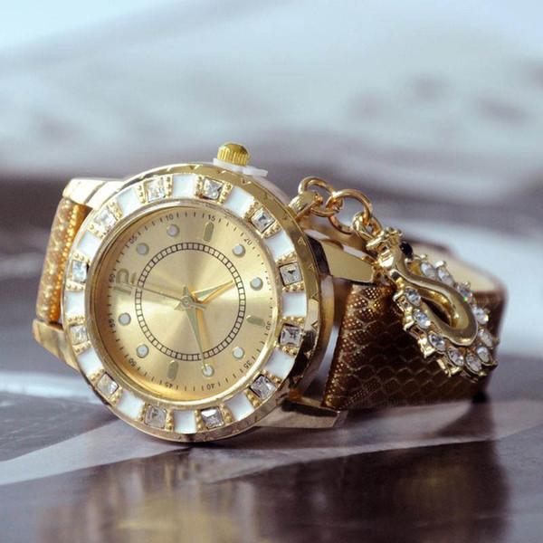 Swan Analogique Montre Strass Montre-Bracelet PU En Cuir Band Quartz Femmes Montre PMHM431 * 41