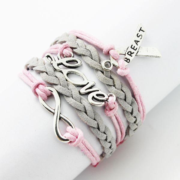Atacado-Multilayer amizade corda de couro Handmade rosa cera de algodão cordão de couro de imitação de veludo fita de câncer de mama pulseira
