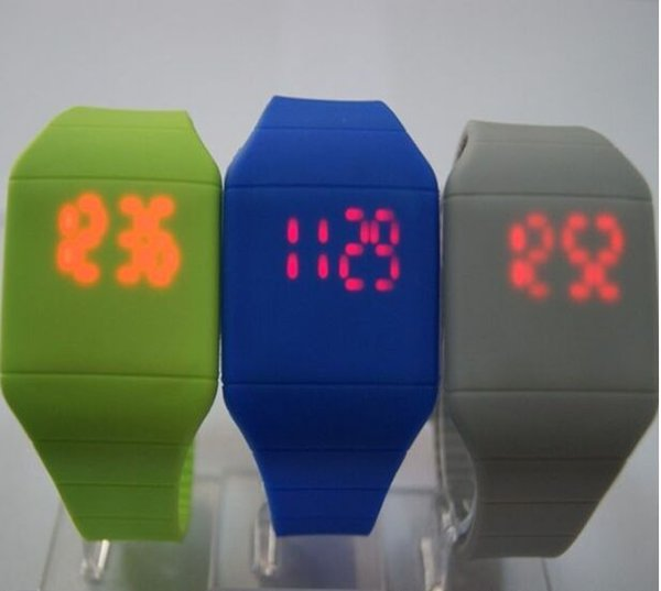 Hot selling 12 color new Colorful Soft Led kids Touch watch Jelly Candy silicone digital feeling screen watches, free shipping 1547