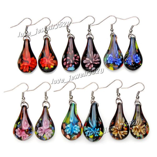 Fashin wholesale 6Pairs handmade mix color Italian Gold sand Drop Flower Lampwork murano glass Earrings Free shipping #E107 Z