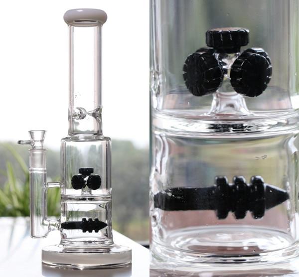 Black Gear Perc Smoking Water Glass Bongs 37cm Tall 18.8mm Joint Top Quality Heady Shop Smoking Hookahs 2016 New Arrival